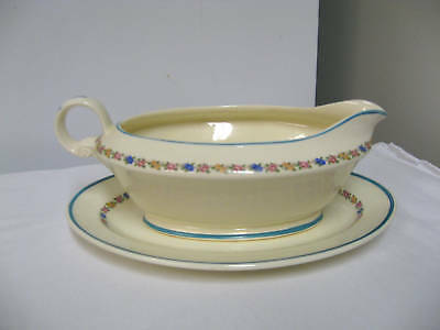 2-pc Older EDWIN M KNOWLES Semi Vitreous Gravy Boat with Underplate