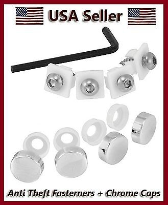 Anti-Theft License Plate Frame Metal Domestic Fasteners/screws Chrome Caps Cover