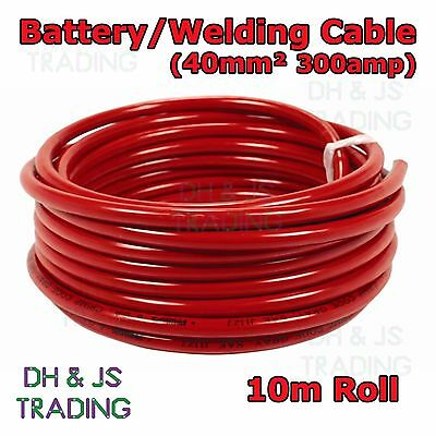 10m Red Battery Welding Cable 40mm² 300a - Flexible Marine Boat Automotive Wire