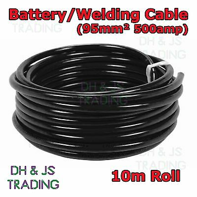 10m Black Battery Welding Cable 95mm² 500a Flexible Marine Boat Automotive Wire