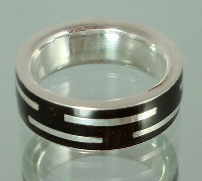 Handmade Silver Amazon Rainforest Ring from Brazil - Size 18.  Fair Trade & Eco