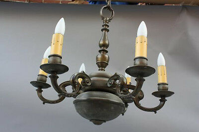 1920s Spanish Revival Colonia Brass Chandelier Fits In Tudor Homes(6518)