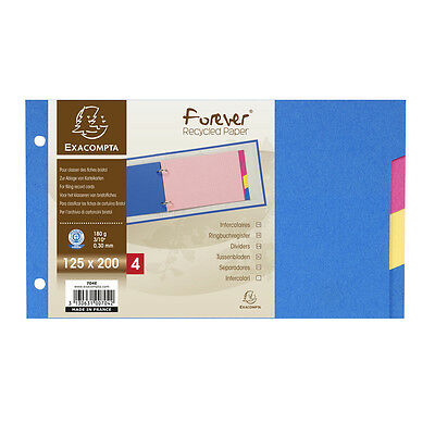 704E Intercalaires classeur fiches bristol 180g forever 4 positions 125x200mm
