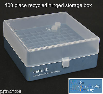 Recycled plastic tube storage case 100 place with hinged lid for 0.5 - 2ml tubes