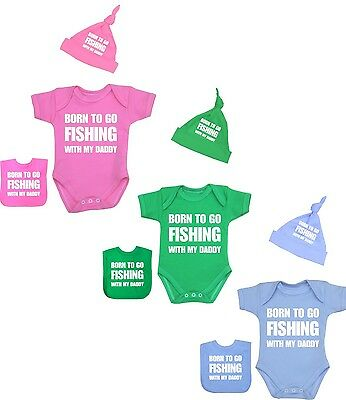 Baby Clothes Born To Go FISHING Daddy 3 Piece Bodysuit Bib & Hat Shower Gift Set