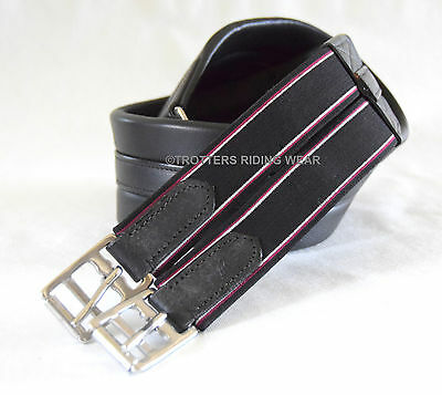 Windsor Equestrian Leather Padded Girth elasticated black or brown