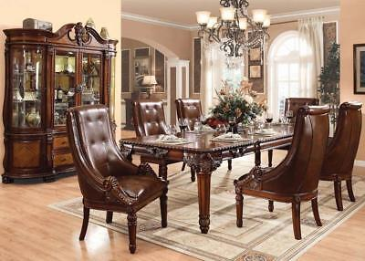 Acme 60075 Winfred Traditional Cherry Finish Carved Wood Dining Table Set 7Pcs