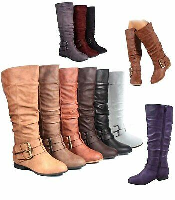 Women's Fashion Low Flat Heel Mid-Calf Knee High Riding Boot Shoes ...