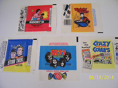 Vintage Lot of 5 Different Assorted Old Non Sports Wax Wrappers