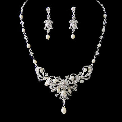 Silver Austrian Crystal & Freshwater Pearl Bridal Necklace Earring Jewelry Set