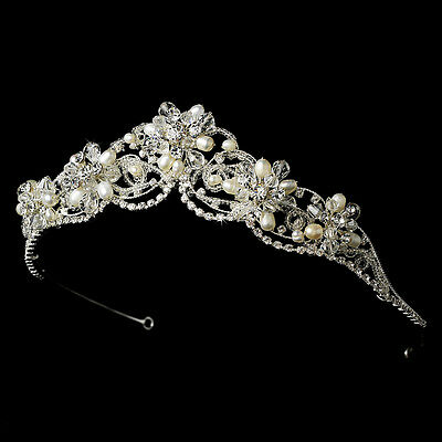 Gold Silver Couture Ivory Freshwater Pearl Austrian Crystal Bridal Tiara Crown