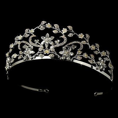 Silver White Floral Faux Pearl Rhinestone Bridal Royal Tiara Princess Crown