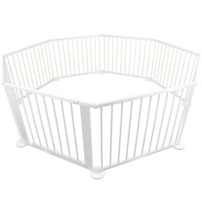 Baby Kids Toddler Deluxe White Wooden Playpen Divider Safety Gate 8 Panel