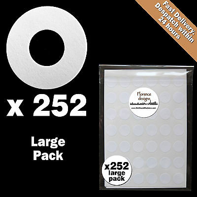252 x White paper hang tag ring/round/hole reinforcement stickers/labels