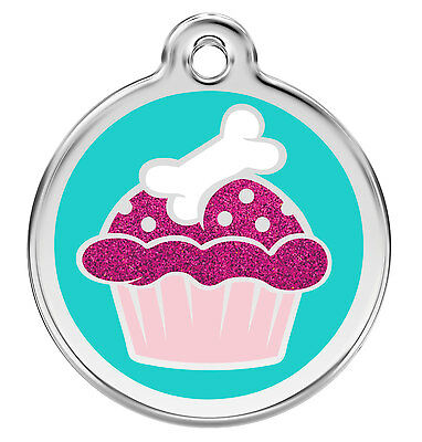 Glitter Aqua Cup Cake Dog / Cat ID Identity Tags / Discs by Red Dingo (XCC)