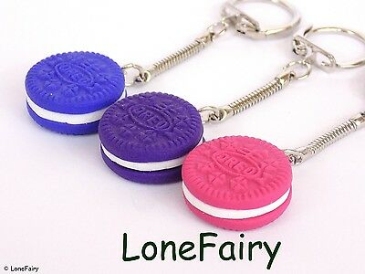 Polymer Clay Oreo Biscuit Keyring Blue Pink Purple Kitsch Retro Food Key Chain