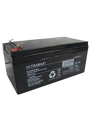 ULTRAMAX 12v 3.3Ah (2.8Ah) Sealed Rechargeable Battery Security & Intruder Alarm