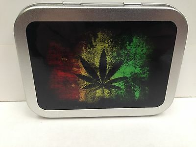 Rasta Leaf Weed Stash Smoking Herb Cigarette Tobacco Storage 2oz Hinged Tin