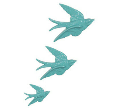 Set of 3 Retro Kitsch Duck Egg Blue Flying Swallows Birds Wall Hanging