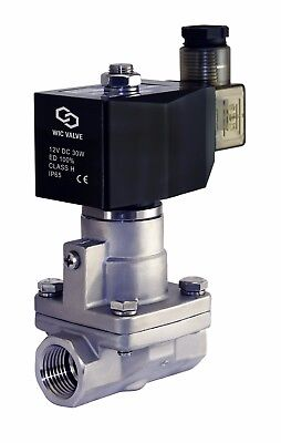 "3/8"" Inch High Pressure Stainless Hot Water Steam Solenoid Valve NC 12V DC PTFE"