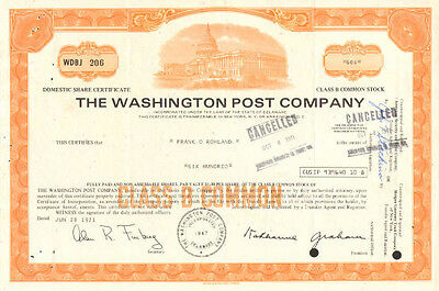 The Washington Post   1970s D.C. newspaper orange stock certificate share