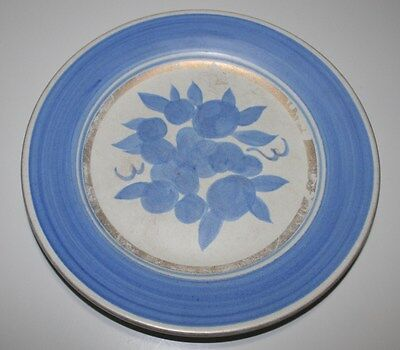 "STANGL 8"" CONCORD SALAD PLATE BLUE GOLD WHITE FRUIT"