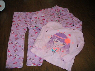 Baby Gap 3 Yrs 3Tg Purple Orchid Floral Jacket Jeans Shirt Lot Set