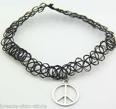 Vintage Stretch peace marked Tattoo Choker Necklace Retro Gothic Punk Elastic 80