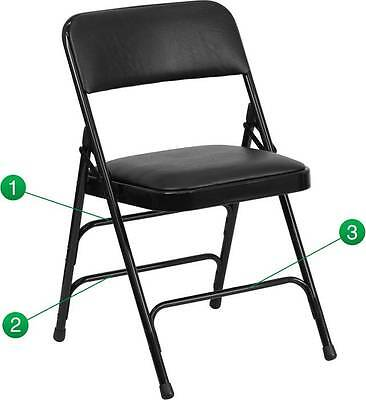 Lot Of 2 Curved Triple Braced & Quad Hinged Black Vinyl Metal Folding Chair