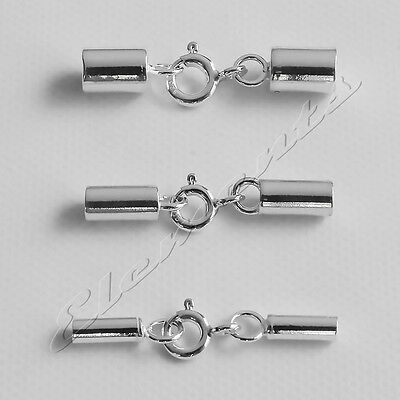 New .925 Sterling Silver Chain Cord End Caps With Integral Bolt Ring Clasp