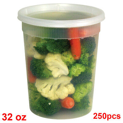 SunnyCare® 32 oz Clear Round Deli Container with Lid 250 /Case