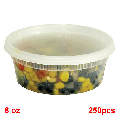SunnyCare® 8 oz Clear Round Deli Container with Lid 250 /Case