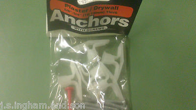 "Job Lot  3 Packs Of 5 Hollow Wall Toggler Anchor Inc Screws & Key 5/8"" & Thicker"