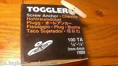 "Job Lot 1 Box Of 100 Small Hollow Wall Toggler Anchor  1/8"" - 1/4""  3mm - 6mm"