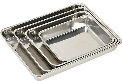 3xSTAINLESS STEEL BAKING ROASTING COOKING TRAY SET BAKEWARE OVEN DISH 25+30+40cm
