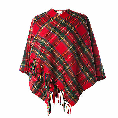 EDINBURGH LAMBSWOOL 100% Lambswool Girls & Ladies Cape Tartan Stewart Royal