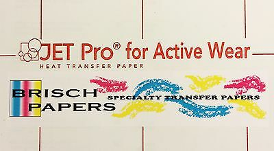 "INKJET TRANSFER PAPER FOR WHITE FABRIC: ""JET PRO ACTIVE WEAR"" (8.5""x11"") 100 CT"