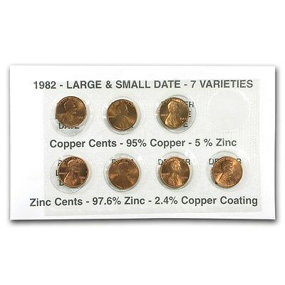 1982 Lincoln Cents - All 7 Varieties in Holder