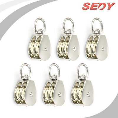 """20mm 3/4"""" Double Pulley Swivel Eye Wheel Block Snatch Rope Pully Lifting 2001-7"""