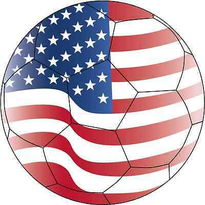 "USA United States Soccer Ball Flag Football Sport Car Bumper Sticker 5"" x 5"""
