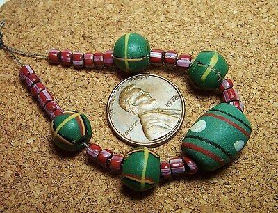 Baby Kings, Green & Brick Red Venetian Glass African Trade Beads Mix