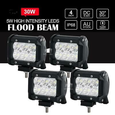 2x 4INCH 30W CREE LED WORK LIGHT BAR Flood/Spot OFFROAD 4WD SUV ATV CAR LAMP 12V