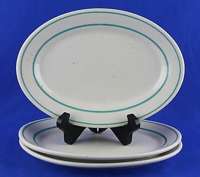 """Homer Laughlin Best China Oval Plates White Turquoise Diner Style 9.5"""" SET of 3"""