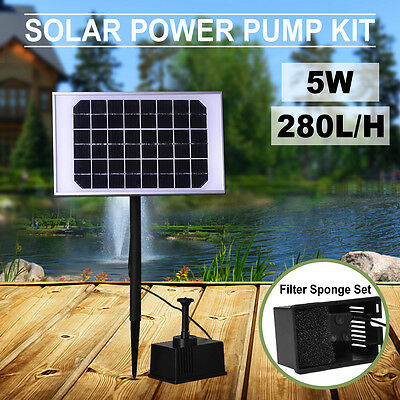 Solar Pump Pond Submersible Water Fountain Pool 280L/H 5W with Filtering Sponge