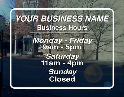Business Hours Vinyl Decal / Graphics Great Custom Sign 11x8.5