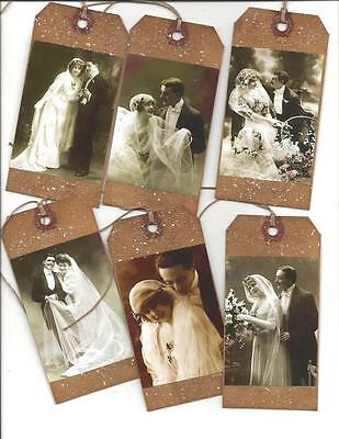 12 PRIMITIVE TAGS~folk~Grungy~Gift Tags~Vintage Wedding!