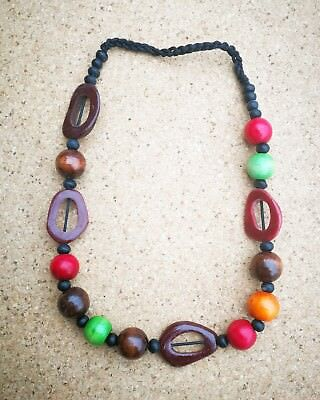 Wood Bead Necklace in Assorted Colours & Shapes from Bali Fair Trade Jewellery