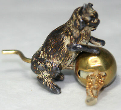 ANTIQUE c1800's ~~KITTEN CAT w/ BALL METAL tape measure~~NOVELTY,figuraI