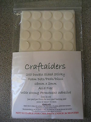 150 double sided sticky foam pads/dots/discs 18mm x1mm