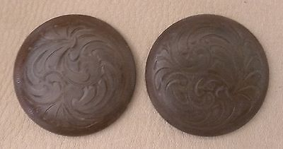 """2 - 2"""" Iron Hand Engraved / Handmade Rust Brown Conchos -  Saddle Headstall"""